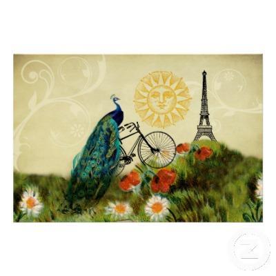Foto Arte del pavo real del vintage con la torre Eiffel Posters