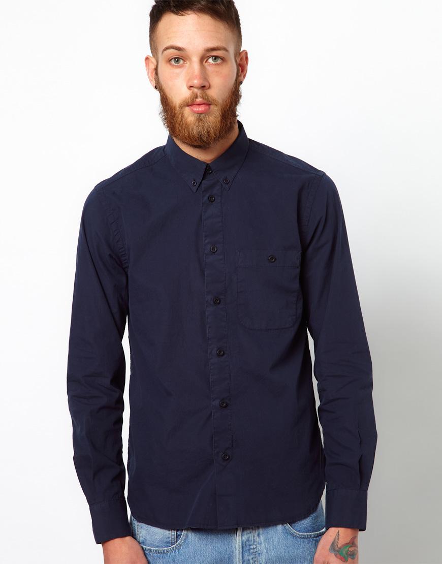 Foto Camisa de popelina de algodón de YMC Azul marino