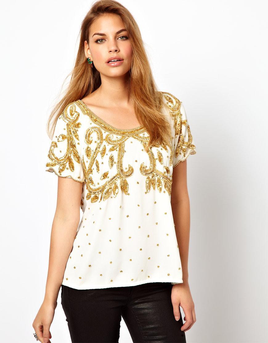 Foto Camiseta con adornos Vicky de Virgos Lounge Crema