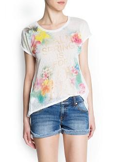 Foto Camiseta Flores Strass Flúor blanco MANGO