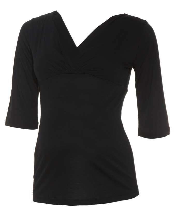 Foto Camiseta negra de lactancia, con manga tres cuartos