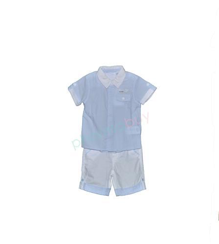 Foto Chicco camisa y pantalon corto azul y blanco