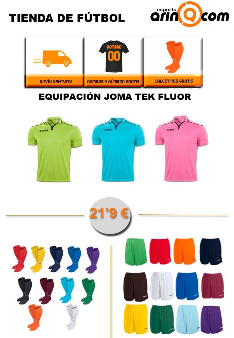 Foto Equipación Joma TEK FLUOR. Regalo medias, envío y nombre + númer - Envio 24h
