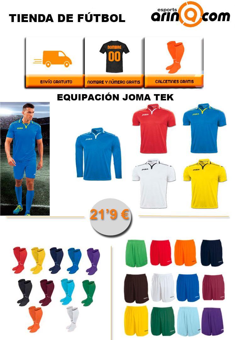 Foto Equipación Joma TEK. Regalo medias, envío y nombre + número. - Envio 24h