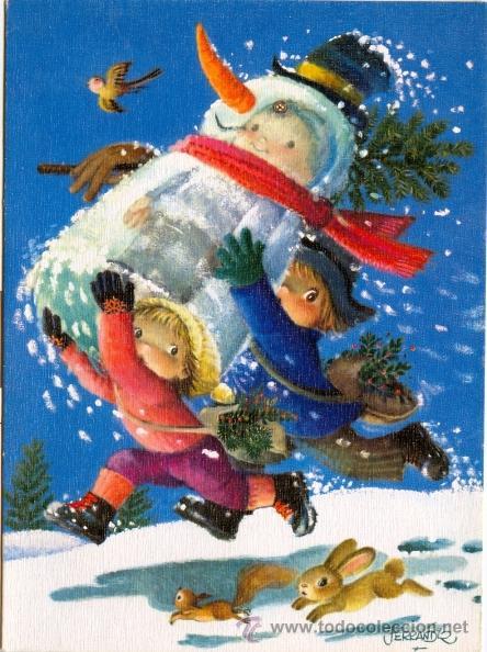 Foto felicitacion navidad ferrandiz niños corriendo en la nieve (197