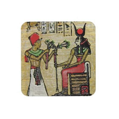 Foto Hathor, diosa egipcia, rama del sicómoro en Thron Posavaso