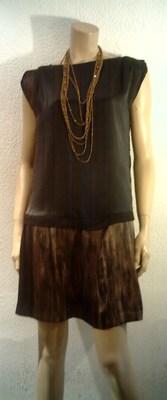 Foto ��� Precioso Vestido De Zara Basic Talla S Color Negro/dorado