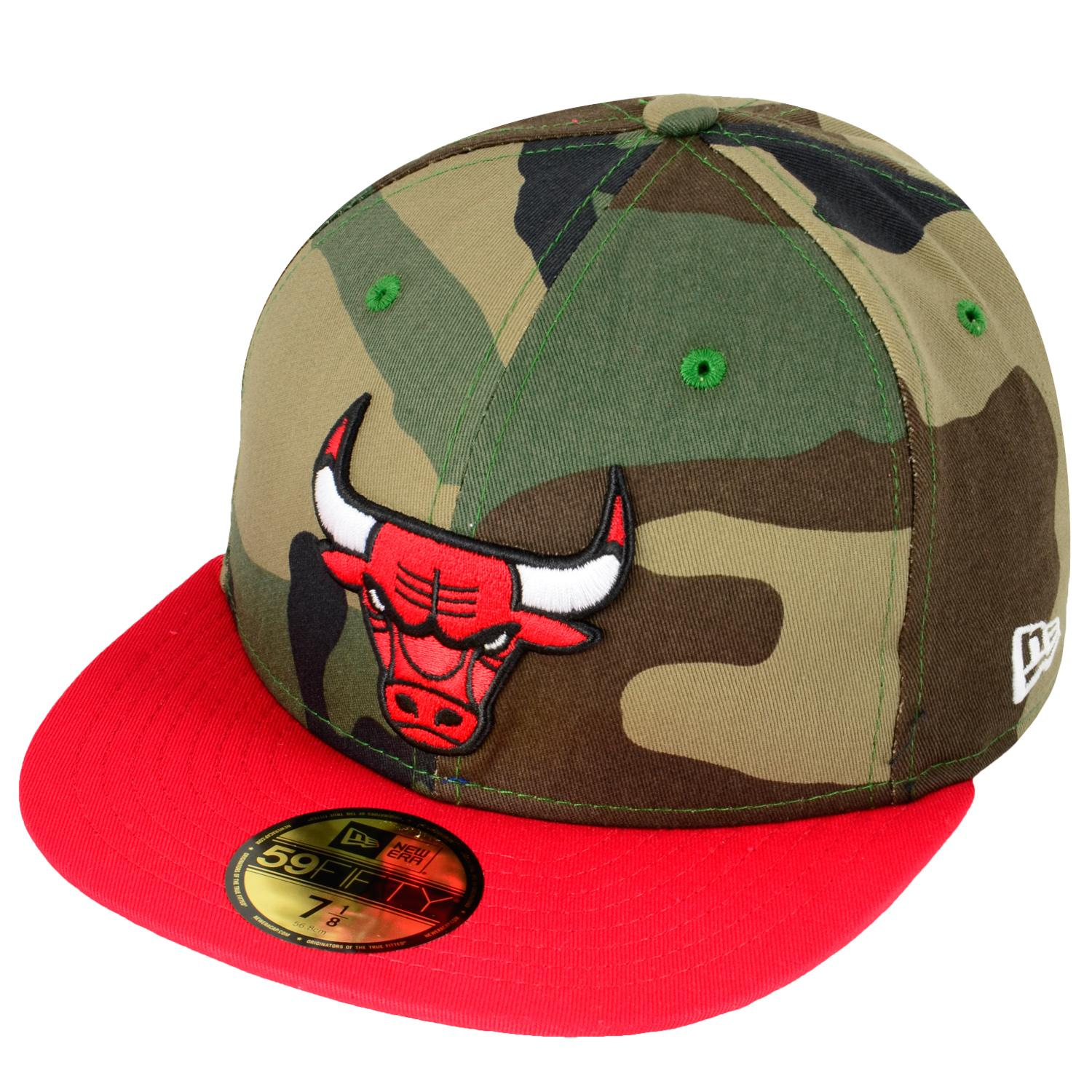 Foto New Era Camo Team Visor 5950 Chicago Bulls Woodland Gorras Empotrad...