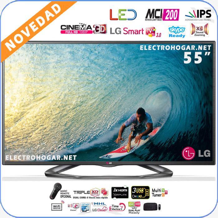 Foto Pantalla LED de 55 3D LG 55LA620S FullHD, IPS, 200hz, SmartTV 3.0, 4 gafas Cinema 3D