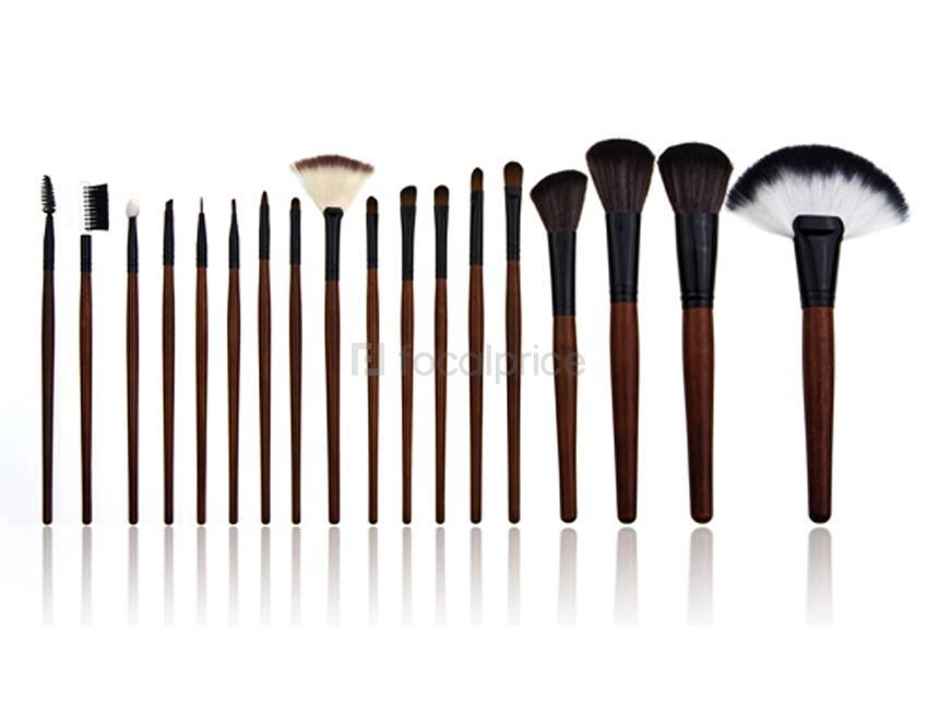 Foto Pinceles de maquillaje cosmética profesional con funda de cuero de imitación Dieciocho piezas de este conjunto