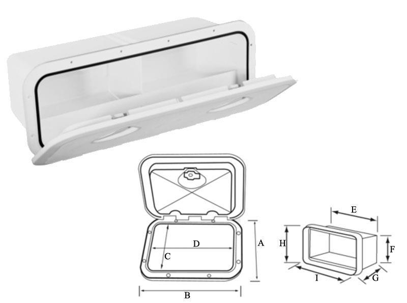 Foto trampilla de ordenación plastimo 243 x 607 con caja trampilla estándar/blanco