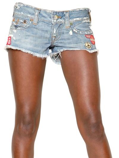 Foto true religion shorts de denim cortados ultra low rise
