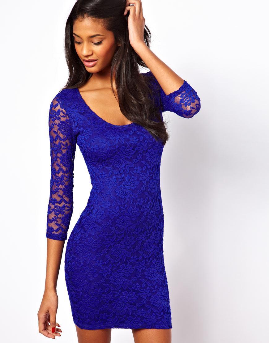 Foto Vestido ajustado de encaje de ASOS Azul