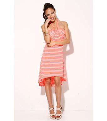 Foto Vestido mujer palabra de honor naranja rayas