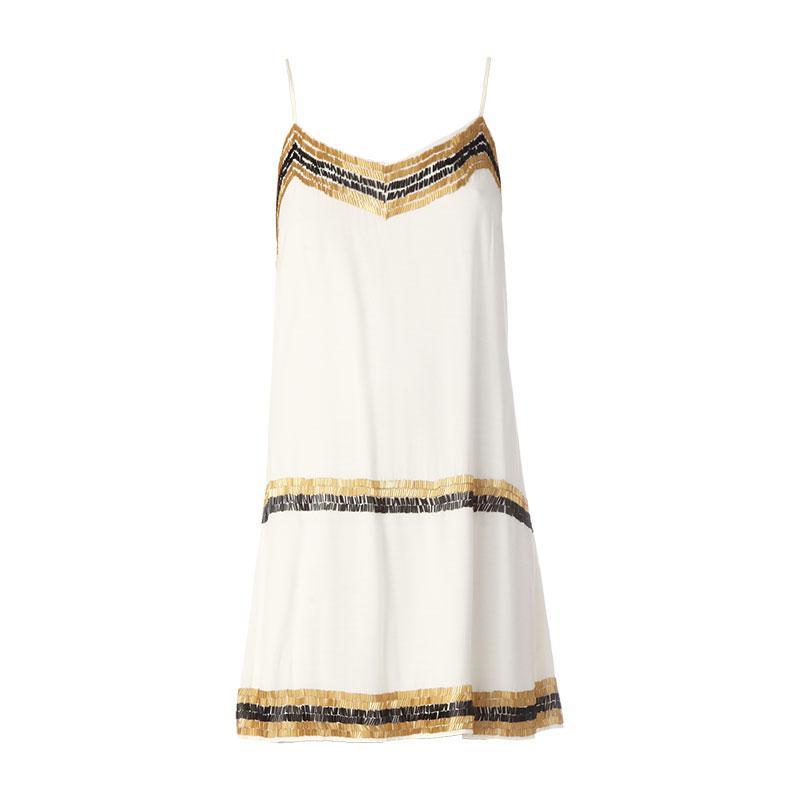 Foto Vila vestido derecho - charleston dress luxe - Blanco / Crudo