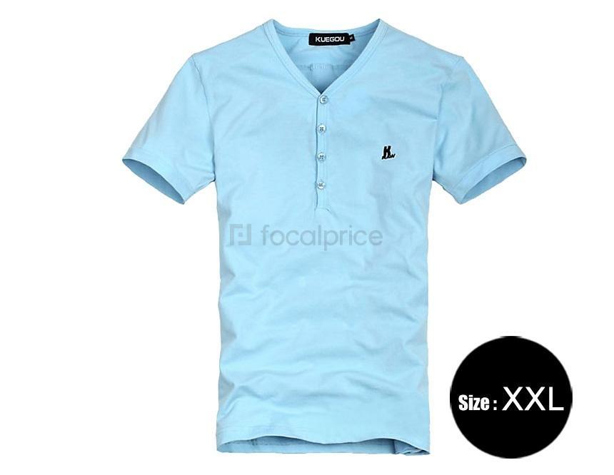 Foto Algodón y spandex con cuello en V manga corta camiseta XXL de los hombres (azul) foto 954819