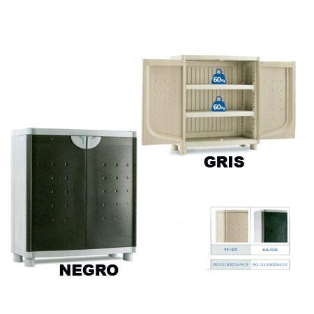 Foto armario resina bajo 2 baldas kis color negro foto - Armarios bajos de resina ...