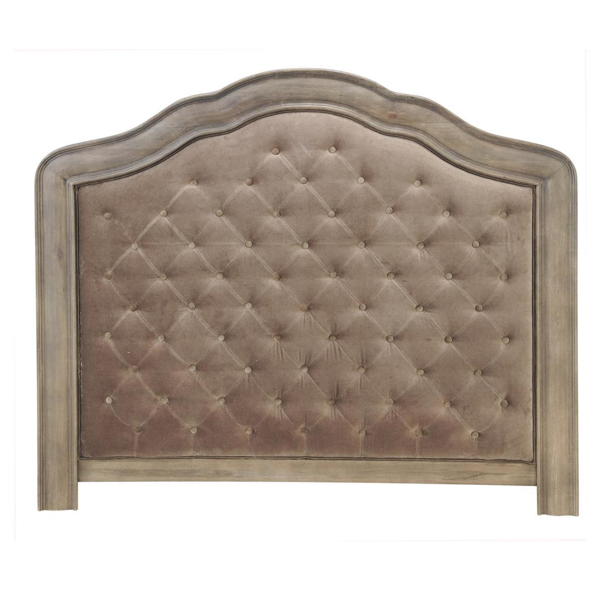 Foto cabecero de cama acolchado de 160 de terciopelo topo - Cabecero de cama acolchado ...