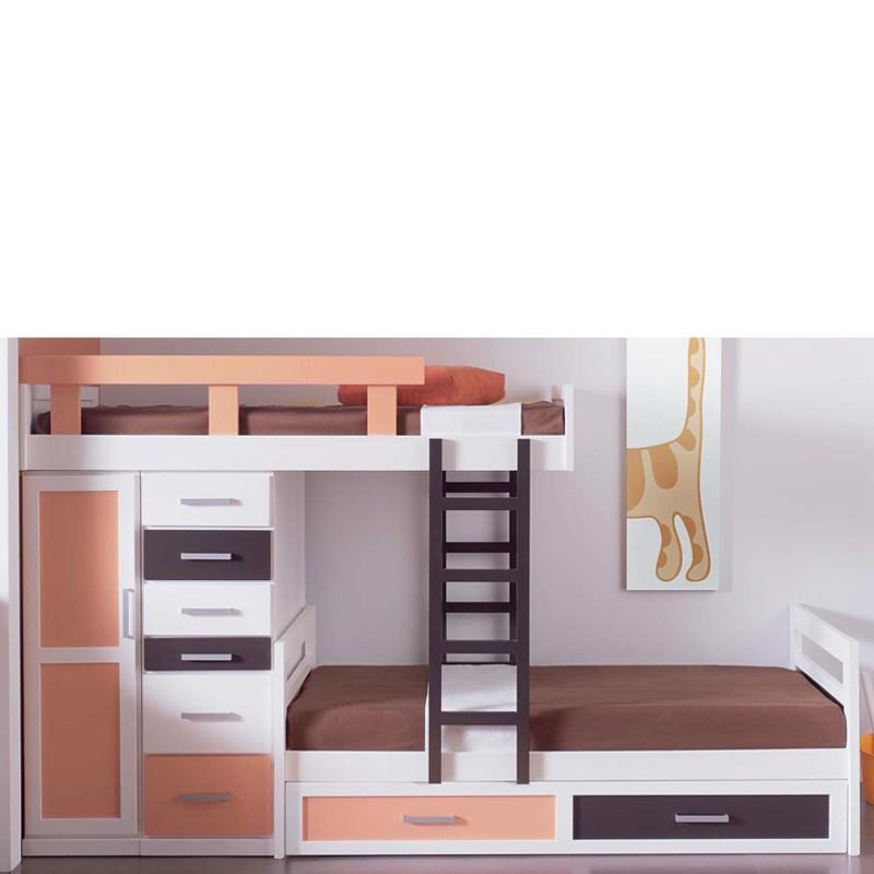 Cama litera infantil tipo tren con 3 camas en madera de - Cama dosel madera ...