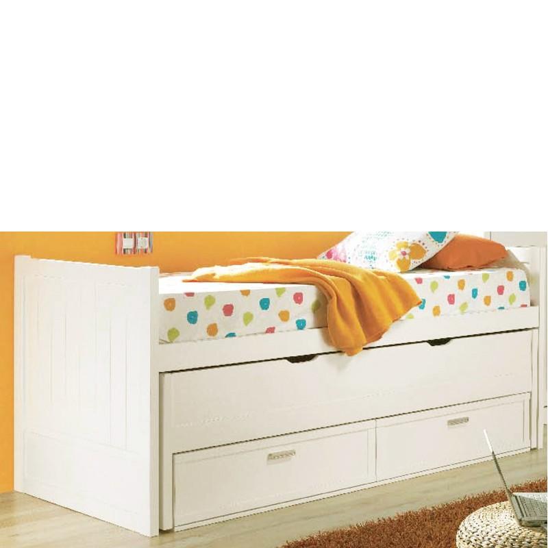 Foto cama litera infantil tipo tren con 3 camas en madera - Cama nido con cajones ...