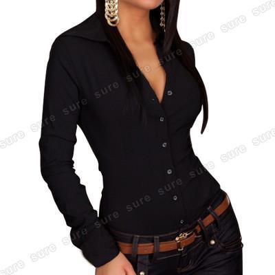 Manga Negro Color Con Larga Body Camisa 5938 Talla Estilo De Foto S Mujer qfvCXpRw