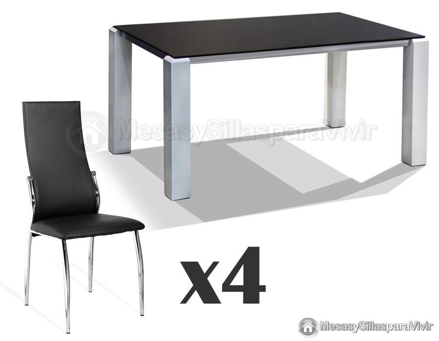 Conjunto mesa comedor blanca con sillas for Sillas de comedor modernas baratas