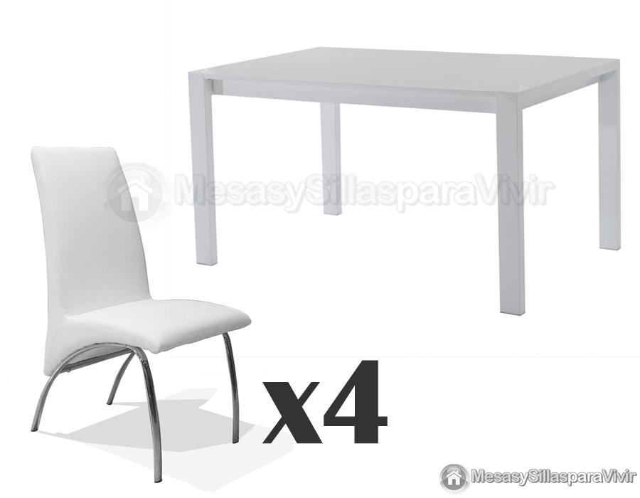 Foto conjunto de comedor de 1 mesa 6 sillas mod praga for Sillas blancas para comedor