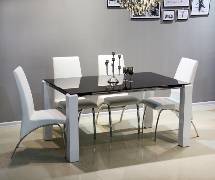 Foto conjunto de comedor de 1 mesa 4 sillas mod praga for Sillas blancas para comedor
