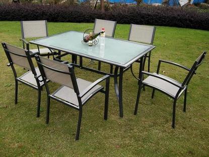 Foto conjunto terraza mesa rectangular 6 sillas mod for Mesa y sillas terraza pequena