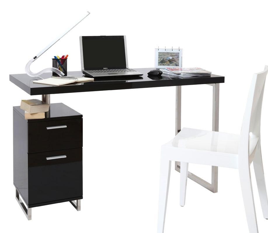 Foto escritorio de dise o 2 cajones lacado negro lexi foto for Escritorio diseno