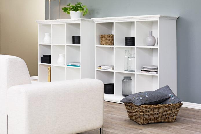 Foto cabecero tapizado tela gris barato foto 120477 for Estanterias baratas ikea
