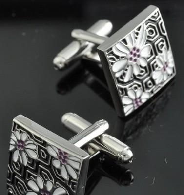 Foto Gemelos Negros Flor / Stainless Steal Black Flower Cufflinks