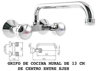 Foto grifo cocina de 13 cm entre ejes con ca o alto 130 mm for Grifo cocina pared 11 cm