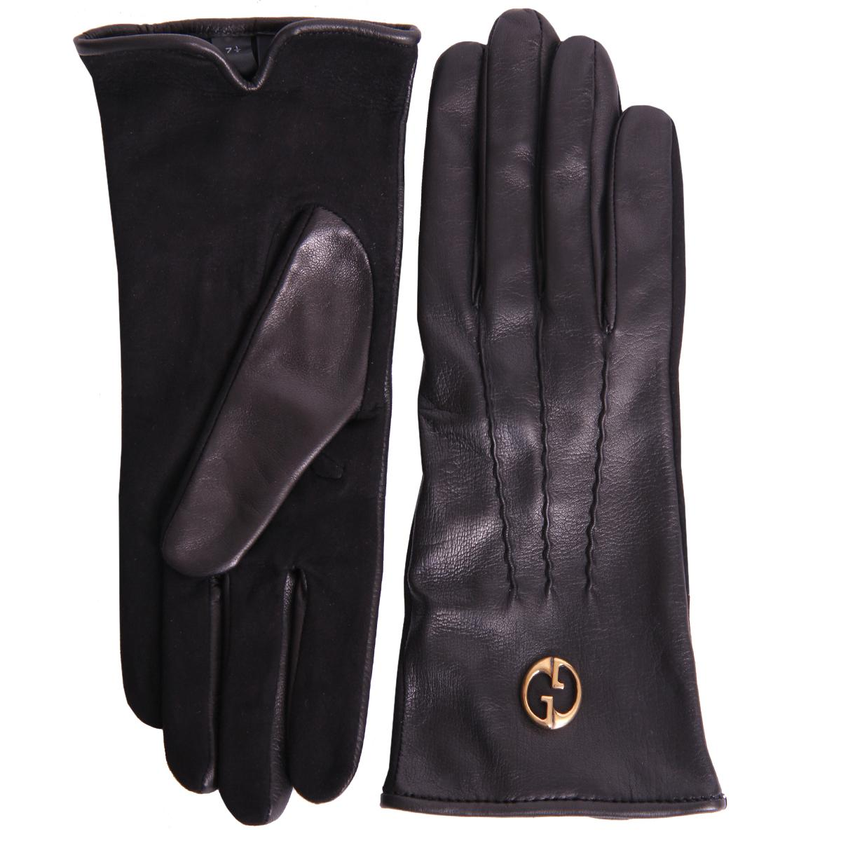 Foto Gucci Black Nappa Leather Gloves With Suede Fronts-8