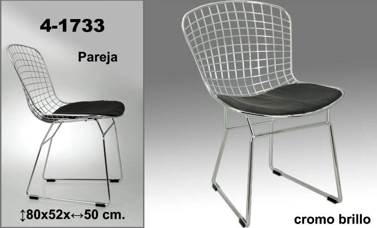 Foto juego 2 sillas metalicas orbis cojin negro foto 321900 for Sillas metalicas