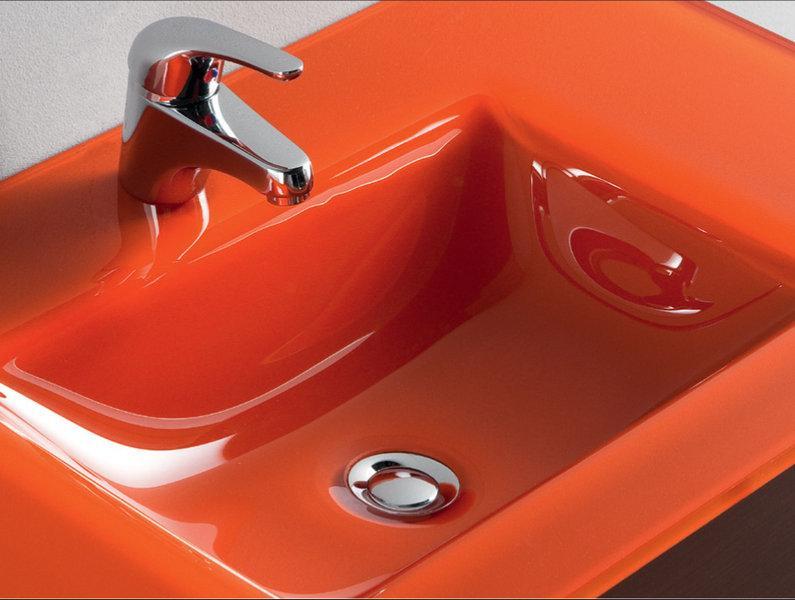 Foto lavabo cristal templado naranja 610 810 mm foto 101626 - Lavabos cristal templado ...