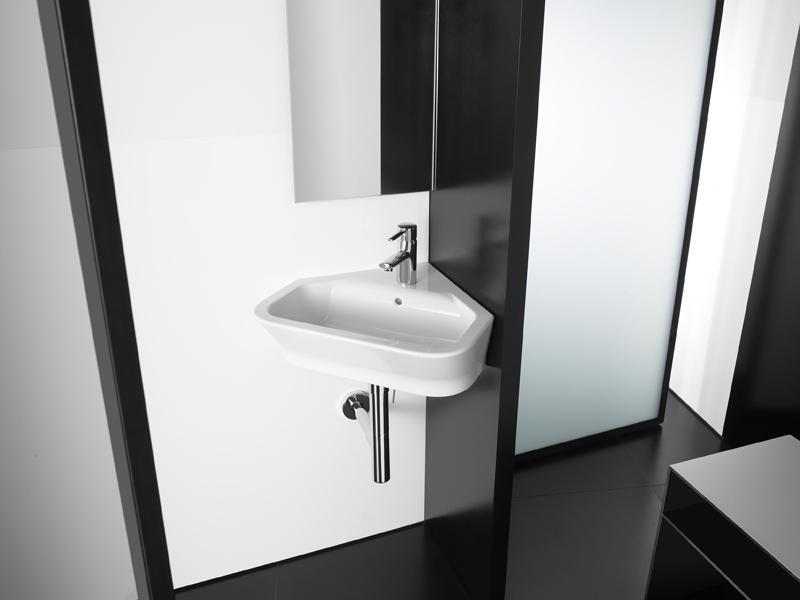 Foto lavabo roca the gap angular de color blanco con for Lavabo the gap con pedestal