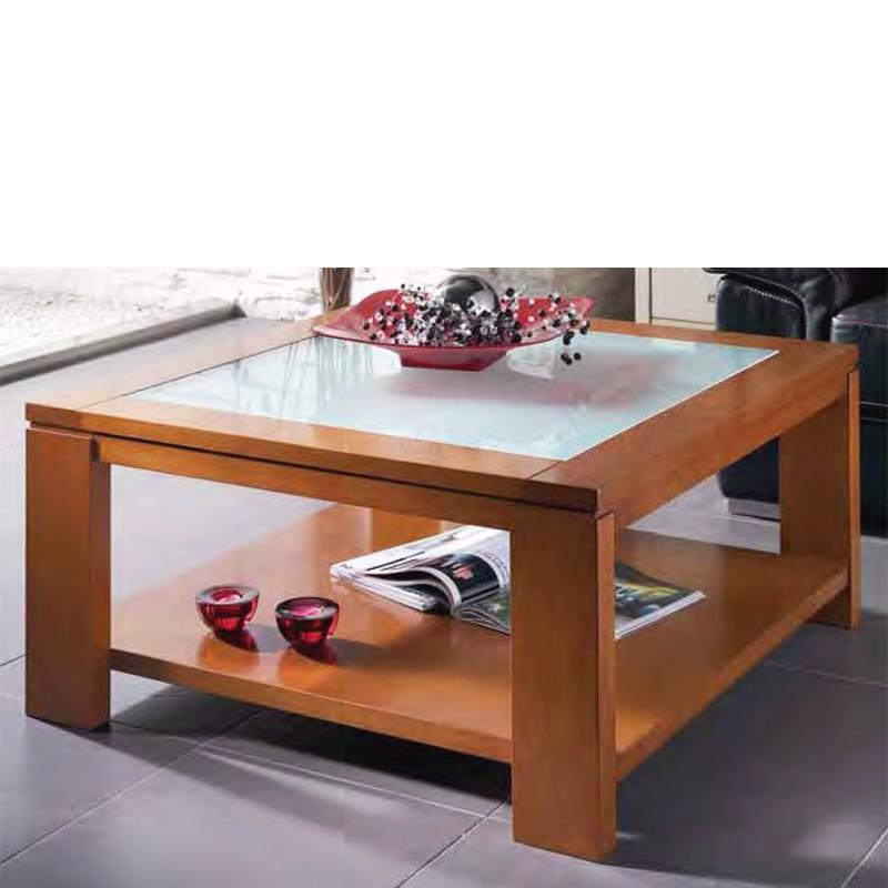 Mesa de centro cuadrada con cristal en madera de haya for Mesas de centro madera y cristal