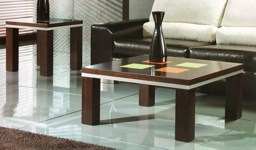 Mesa de centro cuadrada en madera de roble con cristal - Mesas de centro de cristal ...