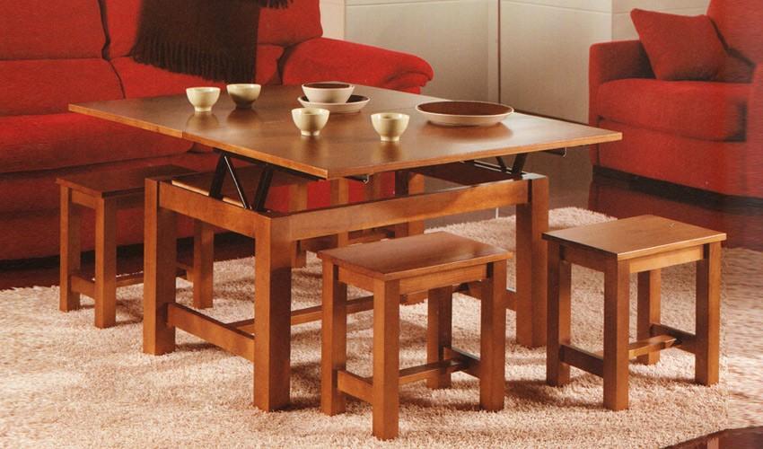 Foto mesa de centro elevable y extensible con taburetes for Mesa de centro elevable y extensible