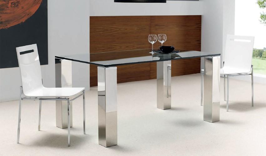 Foto mesa de comedor con patas en acero foto 75451 for Patas acero para mesas