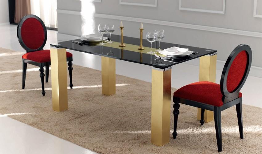 Foto mesa de comedor con tapa cristal y patas lacadas foto - Patas para mesa de cristal ...