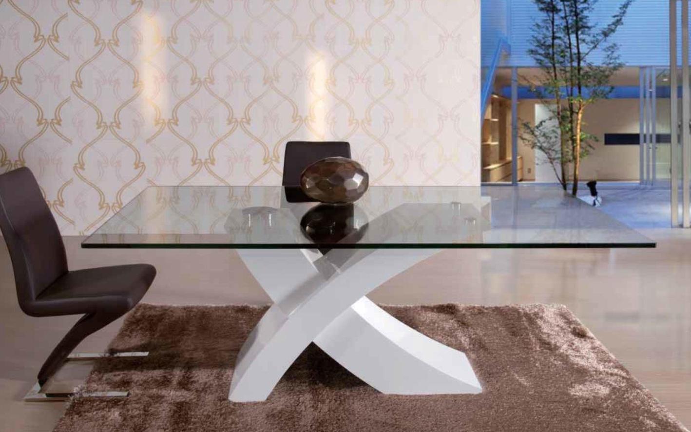 Foto mesa de comedor vidrio itaca blanca foto 360901 for Muebles de comedor en vidrio