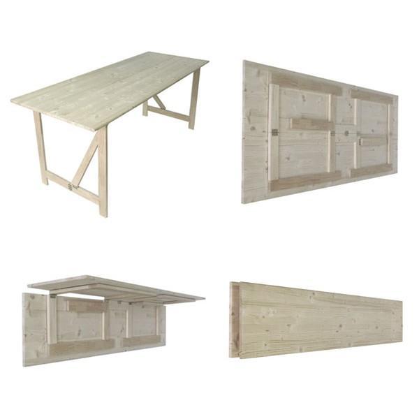 Foto mesa plegable sencilla de madera de abeto foto 205875 for Mesa plegable de madera
