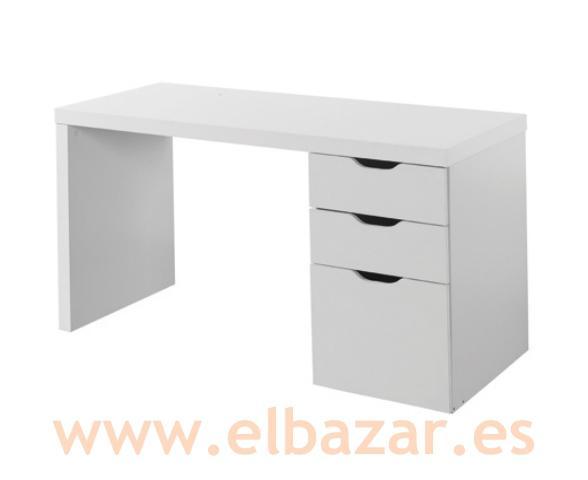 Foto mesa escritorio brombes 3 cajones color blanco foto for Mesa escritorio con cajones