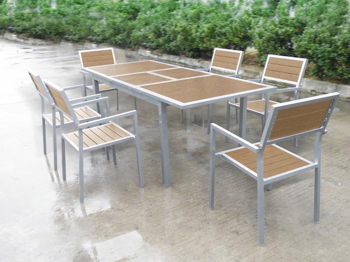 Conjunto de mesa y 6 sillas de comedor mesa de madera con for Mesas y sillas madera