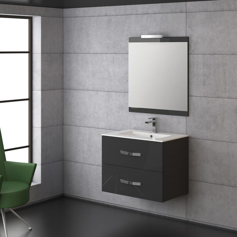 Foto mueble de ba o deva 80 blanco de torvisco con lavabo for Mueble gris y blanco