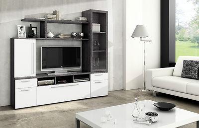 Foto mueble de salon libreria tv comedor oficina sala - Mueble salon gris ...