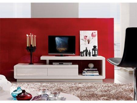 Foto mueble de tv blanco para sal n foto 288068 - Mueble blanco pared ...
