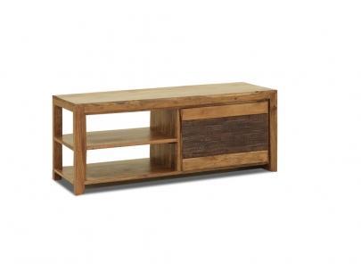 Foto mesa de centro pebble blanco foto 55950 for Mueble tv madera maciza
